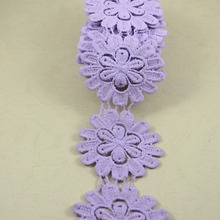 3 yards 60mm width lavender water soluble embroidered lace trim sewing fabric accessories(China)