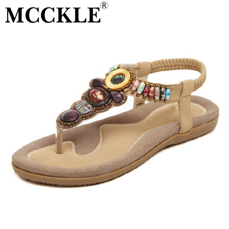 MCCKLE woman sandals bead bohemian clip toe thong shoes comfortable boho flat heel sandals beach shoes plus size 40 41 42<br><br>Aliexpress