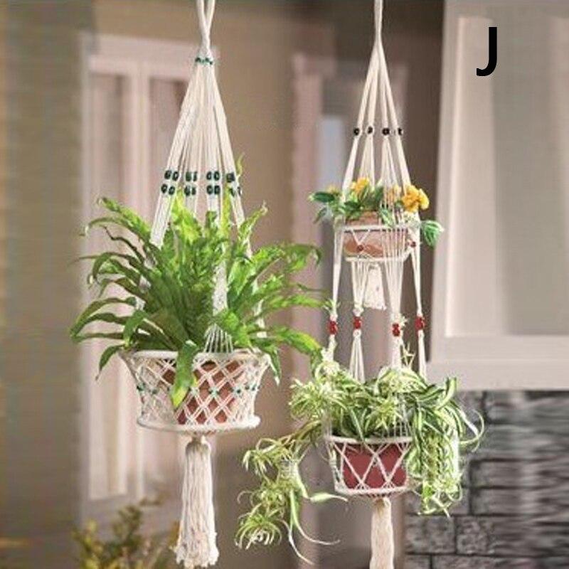 Vintage Macrame Plant Hanger Flower Garden Holder Hanging Rope Basket/_KitD