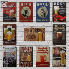 Ice Cold Beer Here Tin Plate Poster Retro Advertising Metal Tin Signs 8x12 inch Bar Pub Club Shop Wall Decor Beer Signs(China)