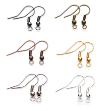 8 Colors 200pcs/lot Fashion Iron Ear Hook Wire Clasp With Bead Charms Earring Hooks Wires Fit DIY Jewelry Making Findings F7(China)