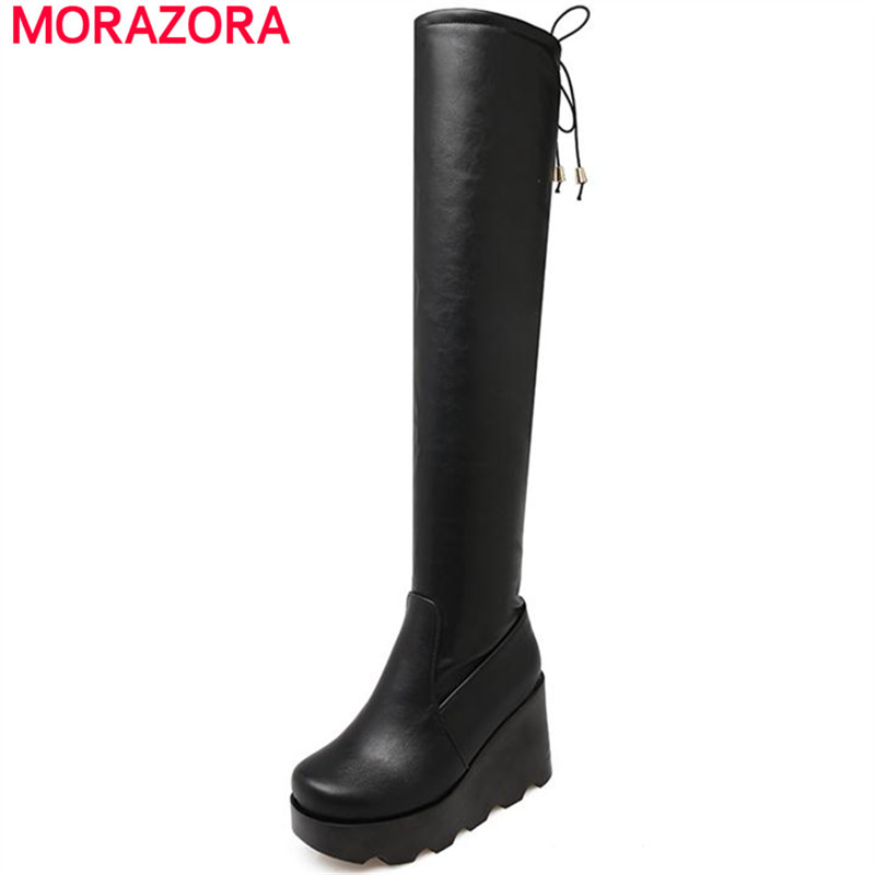 MORAZORA PU Soft leather and PU nubuck leather wedges heels women shoes winter platform shoes over the knee boots solid<br>