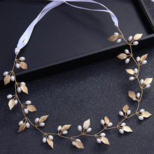 Gorgeous Gold Crystal Leaf Pearl Head Chain Piece Wedding Hair Accessories Ribbon Headband Vintage Headpiece For Bride Hairbands(China)