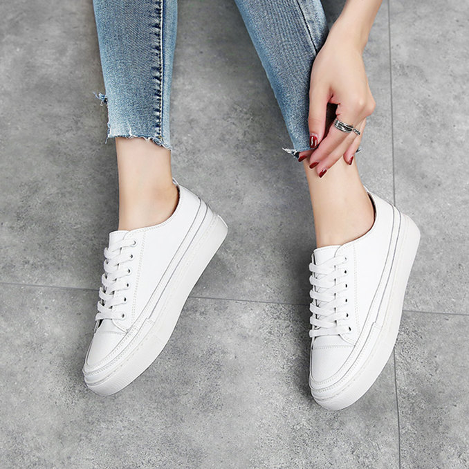 Shoes White Platform Sneakers Women Comfortably Big-Size Genuine-Leather Woman Fashion