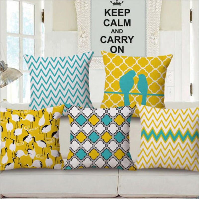 Bird Pillow Case Geometric Pillow Cover Colorful Yellow Cushion Covers for Sofa Home Decoration Pillowcase(