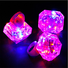 Led Dance 24pcs/lot Huge Diamond Led Glowing Finger Ring Toys Colors Changing Flashing Lights Event Party Birthday Christmas