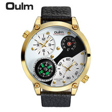 2017 New Men Watch HP3707 Fashion Casual Style Quartz Wristwatches Oulm Brand Factory Outlet Watches Alloy Case 3Bar Waterproof