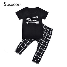 SOSOCOER Boy Clothing Sets Summer Cartoon Arrow Kids Clothing Set 2017 Wild One T Shirt+Plaid Pant 2pcs Toddler Girls Clothes