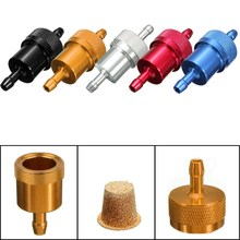 "4 Colors Universal Motorcycle Inline Fuel Oil Filter 1/4"" 6mm CNC Aluminium Alloy"
