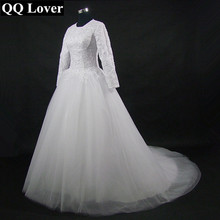 2017 New Vintage Long Sleeve Lace Muslim Ball Gown Wedding Dress Custom-made Plus Size Bridal Gown Vestido De Noiva(China)