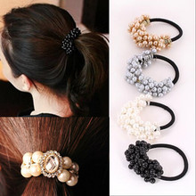 LNRRABC Women Headwear Accessories Rhinestone Imitation Pearls Beads Elastic Hair Band Ponytail Holder Scrunchy Hair Ties