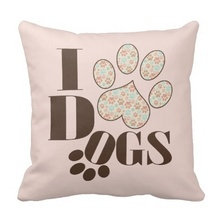Another I Love Dogs Throw Cushion Cover (Size: 45x45cm) Free Shipping