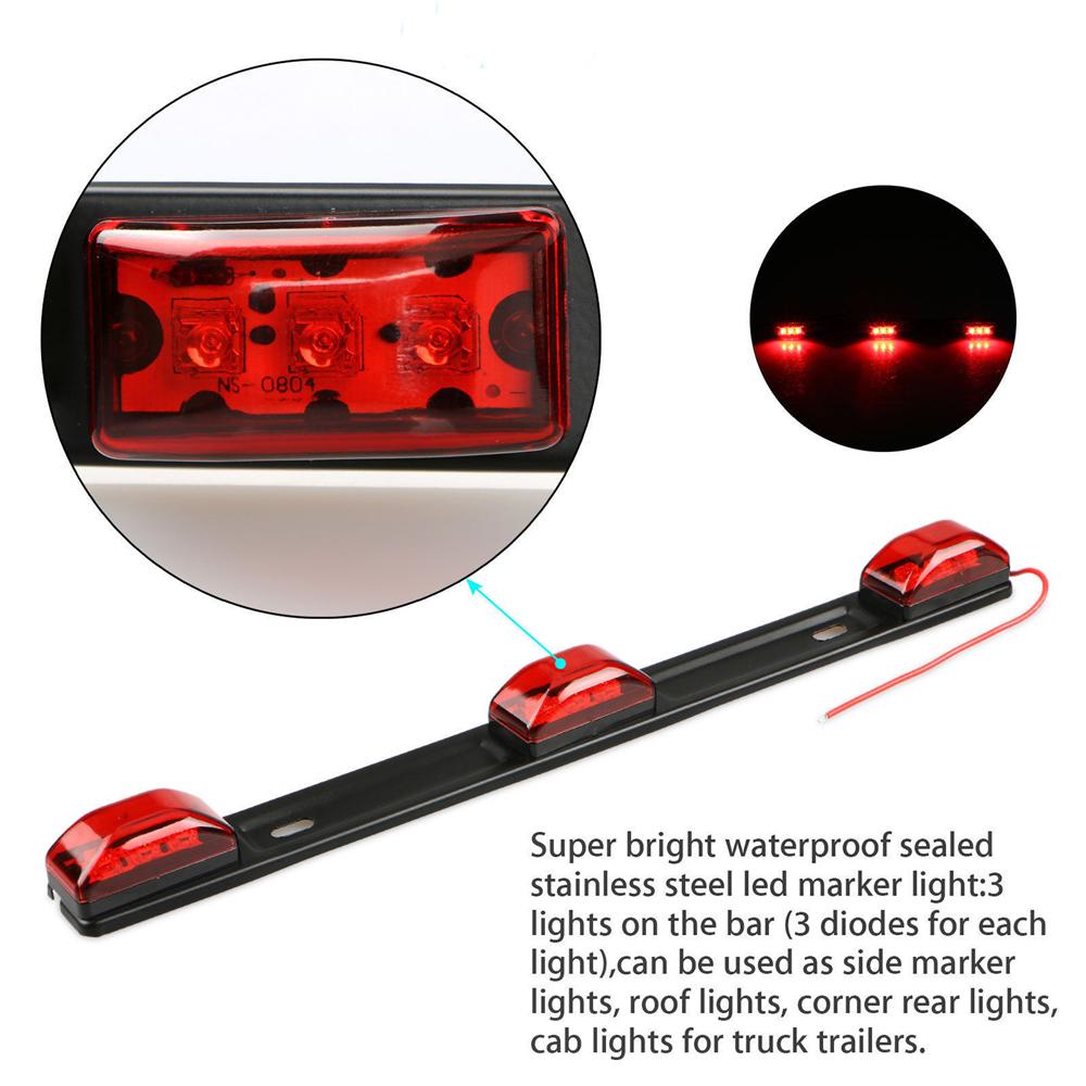 Red Clearance ID BAR Marker Light 3 Light
