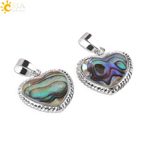 CSJA New Zealand Natural Paua Abalone Shell Beads Love Heart Necklace Pendants for Best Friends Lover DIY Body Jewelry Gift E342