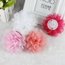 TS 2pcs New 2016 Popular Head Ornament  Elastic Hair Ties Chiffon Flower Rubber Bands Fashion Clip Hair Accessories with Gum