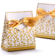 New 10pcs Creative Golden Silver Ribbon Wedding Favours Party Gift Candy Paper Box Cookie Candy gift bags Event Party Supplies