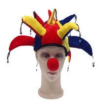 Colorful Halloween Party Clown Hat With Small Bell Carnival Funny Costume Ball Funny Unisex Soccer Event Hat And Nose
