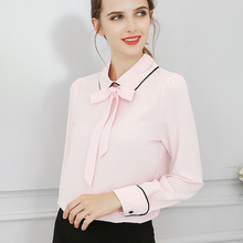 BIBOYAMALL Blouses For Women Summer Women Tops Long Sleeve Casual Chiffon Blouse Female Work Wear Solid Pink Office Shirts(China)