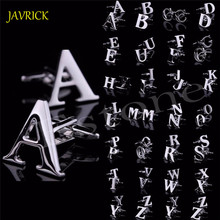 JAVRICK Men's DIY Silver Initials Letters Pure Stainless Business Cufflinks Wedding Gift for Wedding Best Man Usher New