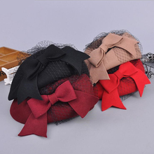 2018 Elegant Winter 100% Australian Wool Felt Fedora Red Black Wedding Hats Women Female Bow Berets Caps Pillbox Hat Chapeau(China)