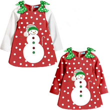 XQ-146 New arrival 2017 girl dress long-sleeved dress Christmas children clothing cotton dot dress for new year girls clothes(China)