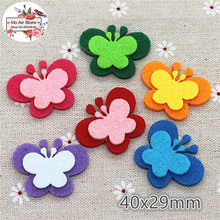 4CM Non-woven patches butterfly two-double Felt Appliques for clothes Sewing Supplies diy craft ornament