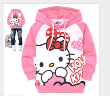 college style 2016 Children's Sweatshirts Cotton Boys Girls Hello Kitty Hoodies 2-7 Years Kids Baby Sweatshirt infantil menina
