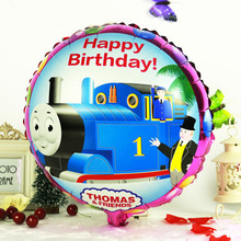 "2pcs 18"" Cartoon Thomas Happy Birthday Helium Foil Balloons Event Birthday Party Supplier Childrens Party Decor"