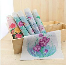 "6 Assorted Designs Cotton Linen Hand dyed painting Digital printing Quilt Fabric 19cmx20cm ""Watercolor Flowers"" Free Shipping"