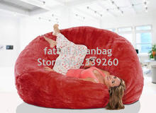 Cover only No Filler -	Red oversize living room bean bag furniture, warm and sofa comfort beanbag sofa chair set