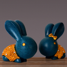 2 pcs resin rabbit christmas decoration home ornaments wedding gift figurine animal statue office desk decor business gift