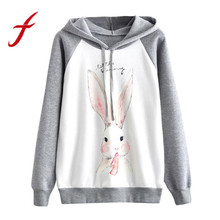 Feitong INS Vintage Women Sweatshirts Hoodies Rabbit Print Long Sleeve Hooded Pullover Jumper Tops sudadera mujer jumper 2017(China)