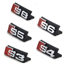 Auto decal modified accessories Universal 3D S3 S4 S5 S6 S8 Logo Car Styling Front Hood Grille Emblem Badge Stickers for Audi