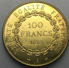 1889 A France Liberte Egalite Fraternite 100 Francs Gold Brass Metal Copy Coin(China)