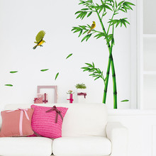 Fashion Homey Design Wall Stickers Deep Bamboo Forest 3D Wall Stickers Romance Decoration Wall Home Decor DIY Levert Dropship