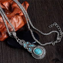SHUANGR Antique Fashion Jewelry Tibetan Resin Chain Necklace&Pendants Water Drop Shaped Cheap Price Wholesale
