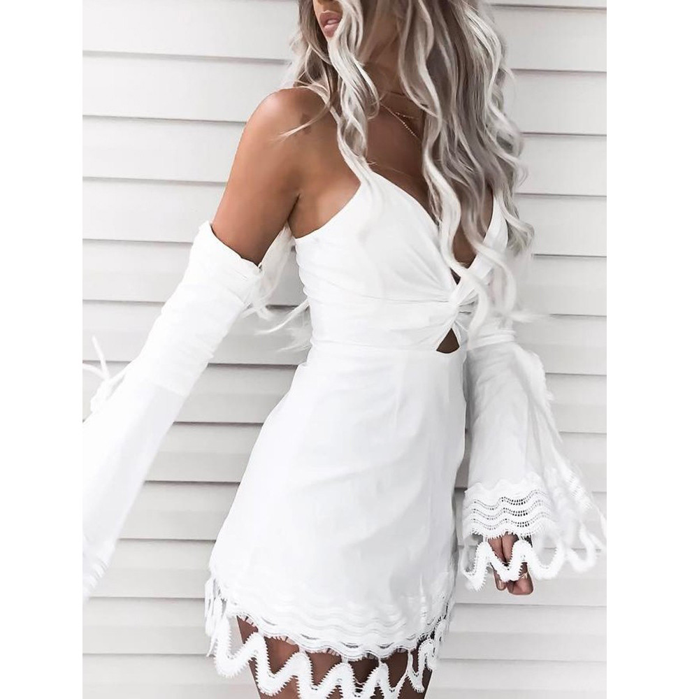 New Arrival Women Sexy Summer Boho Lace Dress Evening Party Off Shoulder Mini Dress Solid Black and White 5