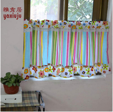 splice lace stripe  flower  cotton curtain      handmade coffee curtain     small curtain