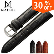 MAIKES New watch bracelet belt black watchbands genuine leather strap watch band 18mm 20mm 22mm watch accessories wristband(China)