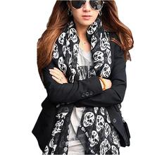 Fashion Style Women Soft Chiffon Scarf Skull Printed Scarf New Arrival Punk Style Scarves KH859512