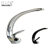 Soild brass chrome finish bathroom faucet modern design deck mounted single handle washbasin faucet torneira(China)