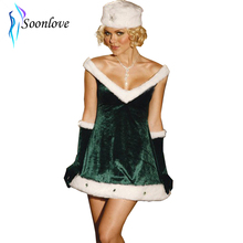 Tianyi Lover baby Sexy Green And White Ladies Velvet Mary Christmas Club Dress