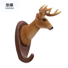 TIMEMORE-Creative hook up Stereo animal Key hook hanger resin deer head clothing store hanging hook Decorative wall hanging(China)