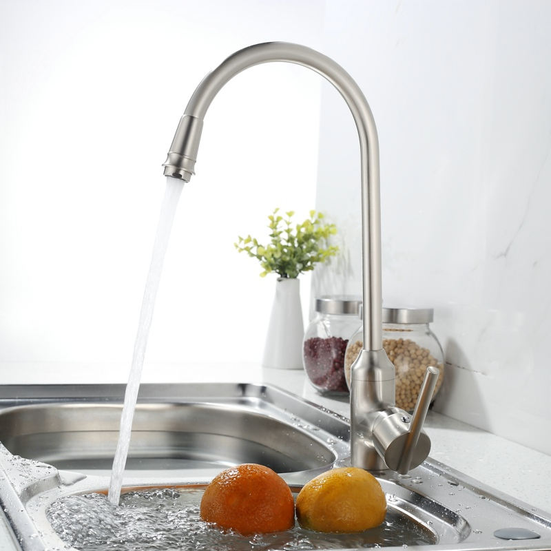 brushed nickel kitchen faucet hot and cold water swivel sink mixer brass sink taps deck mounted SW-0957N<br><br>Aliexpress