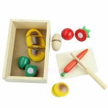 New Kids Children Role Play Kitchen Wooden Fruit Vegetable Food Cutting Toy Set