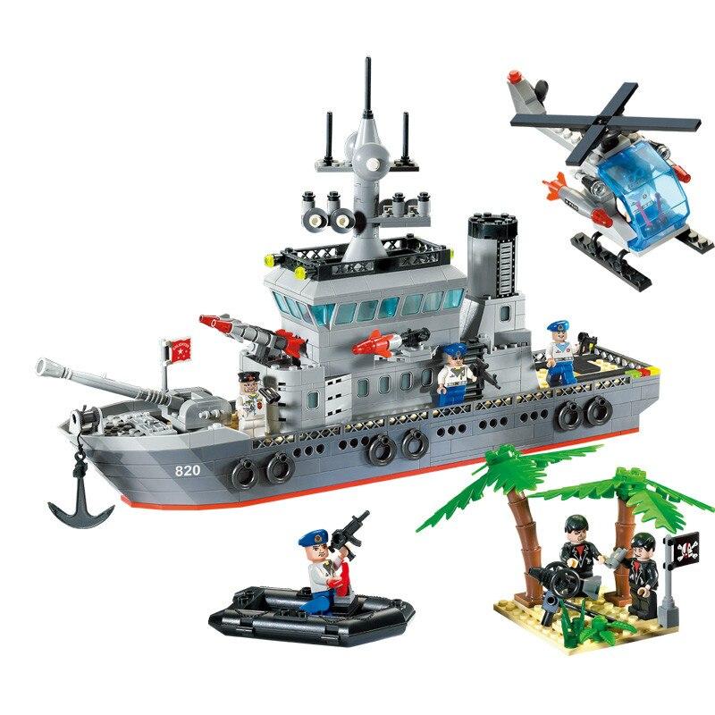 614Pcs Enlighten Military Series Toys Navy Frigate Ship Assembling Building Block Set Figures Compatible With Legoe<br>
