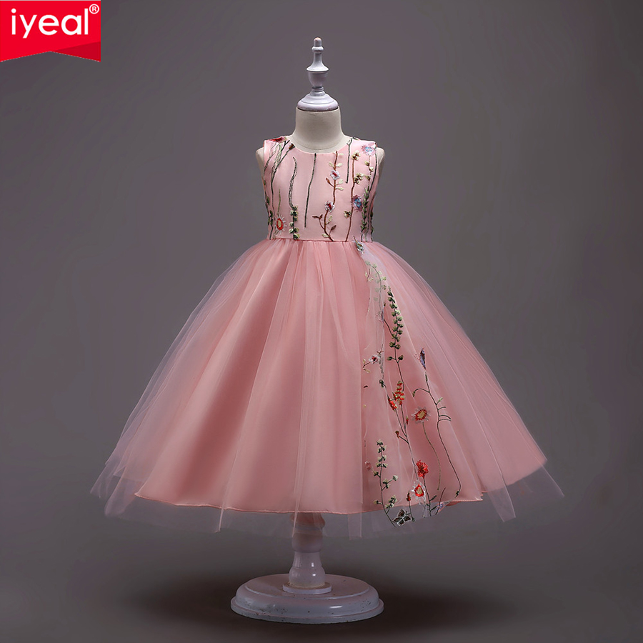 IYEAL Children Princess Dress Elegant Embroidery Girls Wedding Party Clothes Sleeveless Flower Kids Dresses for Girls 5-14 Years<br>