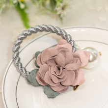 2017 Hot Fashion Pearl Flower Sinews of South Korea Rose Small Adorn Article Han Edition Head Rope Hair Circle Rope Wholesale