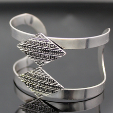 Egypt Retro Silver Revival Greek Key Rhombus Bracelet Bangle Cuff Belly Dance Jewelry 2017 New