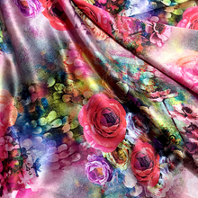 145*100cm France Imported 3D High-grade silk satin big flower style fabrics For women's dress,dolls shabby chic Bedding Textile(China)